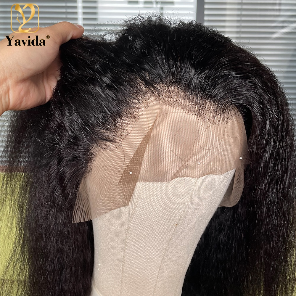 Human Hair Lace Front Kinky Straight Wig 13x4 Lace Frontal Remy Hair Coarse Yaki Wigs For Women Human Hair Yaki Lace Front Wig
