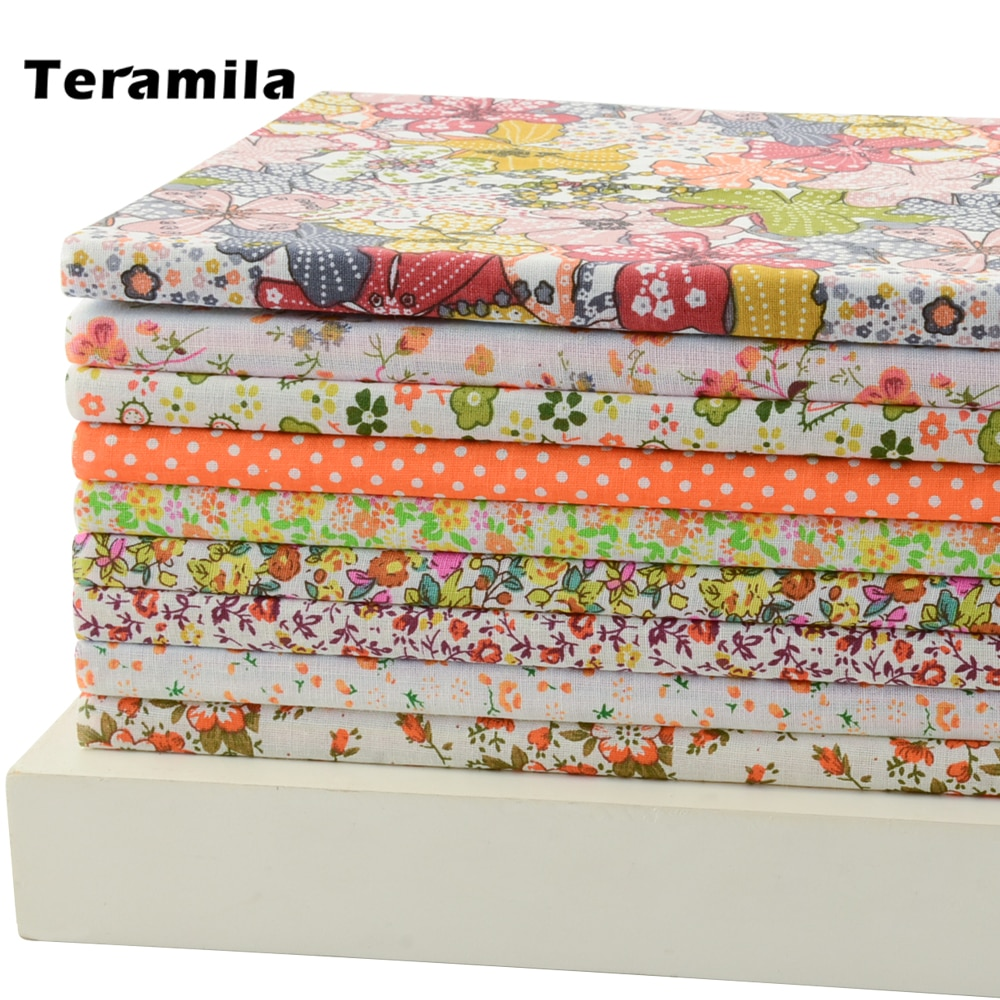 "50CMx50CM 9 Pieces ""Fresh Yellow Floral"" Cotton Fabric Fat Quarters Quilting scrapbooking Patchwork Fabric Tilda cloth"