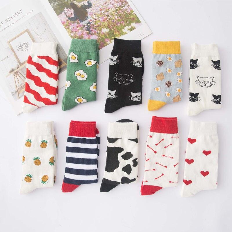 Bonito criativo de alta qualidade moda harajuku kawaii meias engraçadas mulheres ovo pintura comida vaca gato impressão meias engraçadas bonito meia