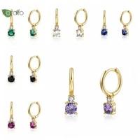 925 sterling silver multicolor wild 4x4mm zircon hoop earrings ladies elegant simple and fashion drop earring jewelry gifts