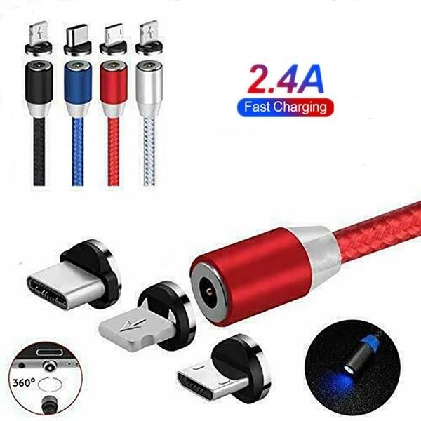 Cable de carga de imán rápido, Micro USB tipo C para IOS,...