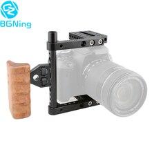BGNing CNC DSLR caméra vidéo Cage pour Canon 80D stabilisateur plate-forme avec poignée droite en bois pour Nikon D7000 pour Sony A99 accessoires
