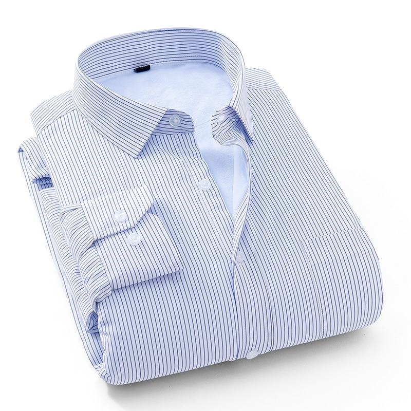 Мужская Утепленная рубашка с длинным рукавом, Зимняя Повседневная теплая рубашка в полоску, на пуговицах