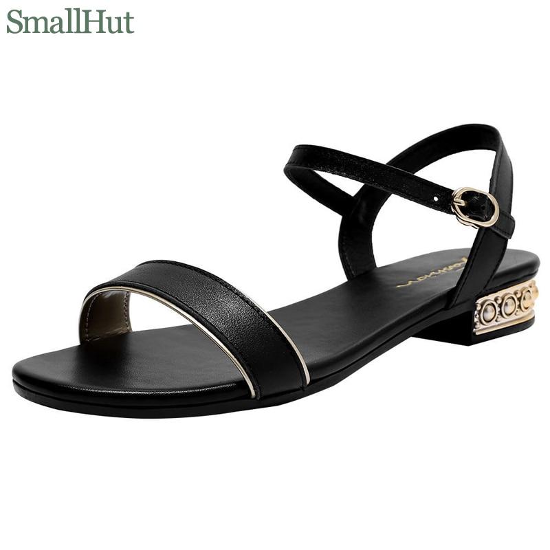 Women Genuine Leather Sandals Low Heel Buckle Strap Ladies Open Toe Black Beige Metal Decoration New Summer Female Shoes M093