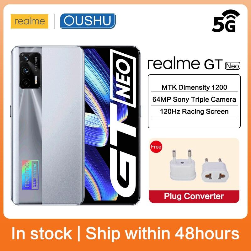 Оригинальный мобильный телефон realme GT Neo, 5G MTK с диммером 1200, 50 Вт, флэш-зарядка, 120 Гц, Super AMOLED экран, камера 64 мп, Android, NFC