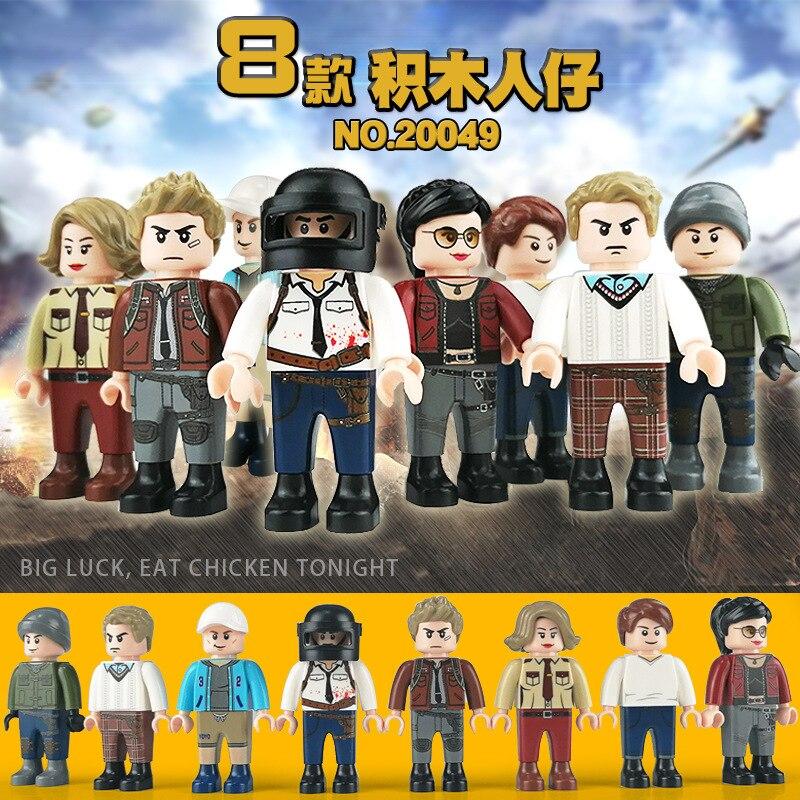 8 unids/set de bloques de construcción figura de acción con arma Zoey Cuddle Team Peace Elite partícula de ensamblaje juguetes para niños