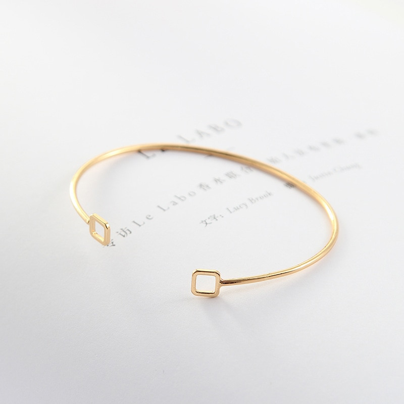 Korean simple retro geometric silver plated charms women jewelry accessories open bracelets or cuff bangles are for bijoux femme  - buy with discount