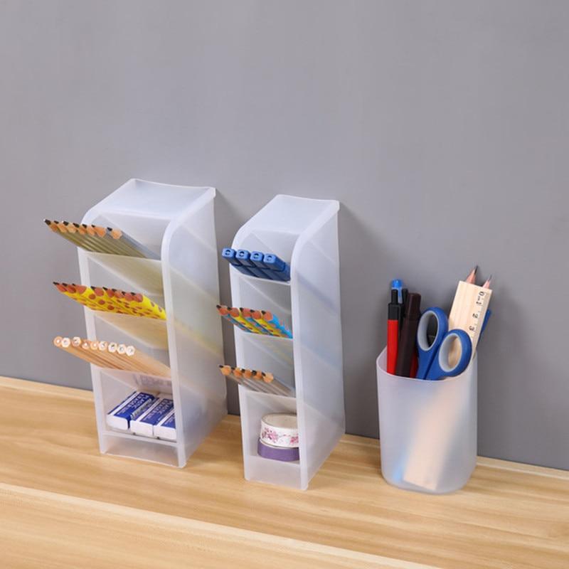 Косой вставки Тип матовый настольная подставка для ручек полка Настольный ящик для хранения Прозрачный Косметические кисти тубус для хранения Организатор