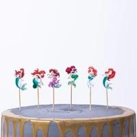 24pcs mermaid princess micky mouse cake topper baking birthday cake decoration insert card flag cartoon theme kids toys
