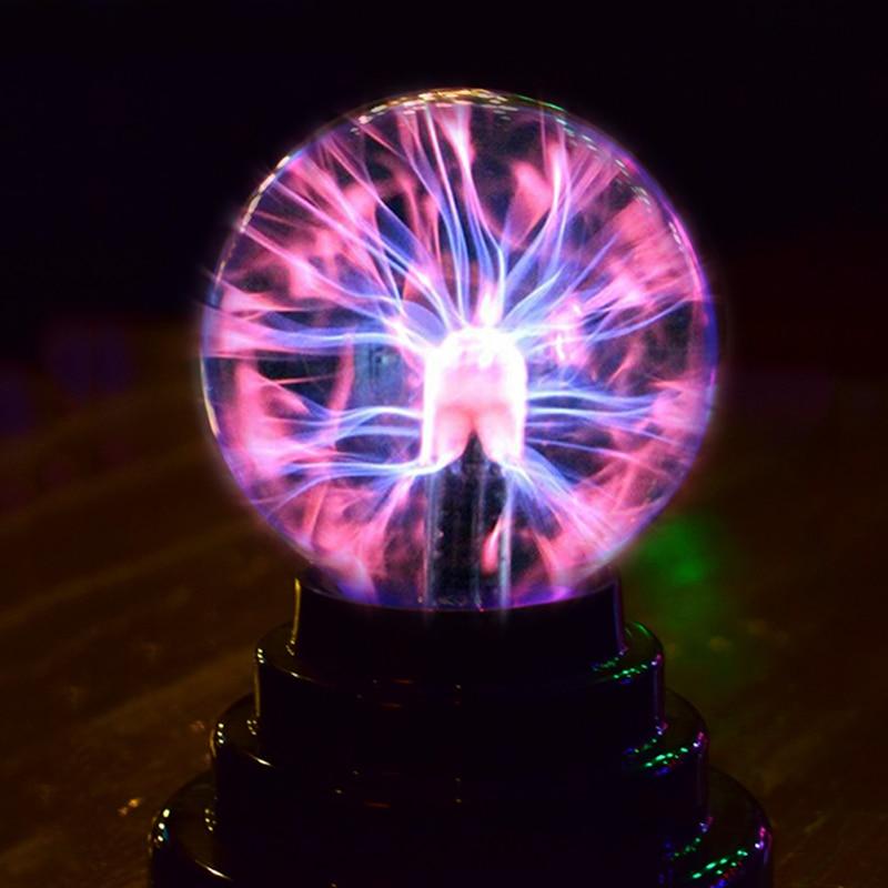 Glass Plasma Ball Sphere Crystal Lamp Table Desktop Globe Night Light Up Decor USB Power Household Kids Gifts