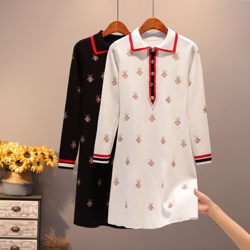 New Fashion Golden Bees Embroidery Knitting Dress Women Autumn Winter Turn-Down Collar Simple Runway Knit Slim Dress