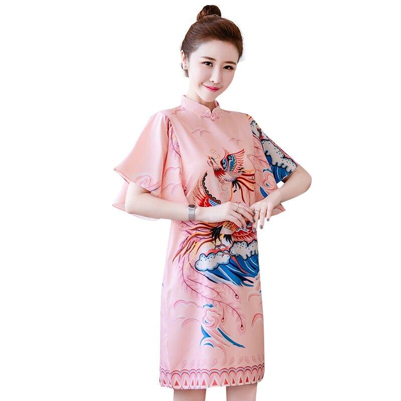 M-4XL Плюс Размер Розовый Феникс с принтом в винтажном стиле, в традиционном китайском стиле Ципао повседневная обувь, обувь для вечеринок жен...