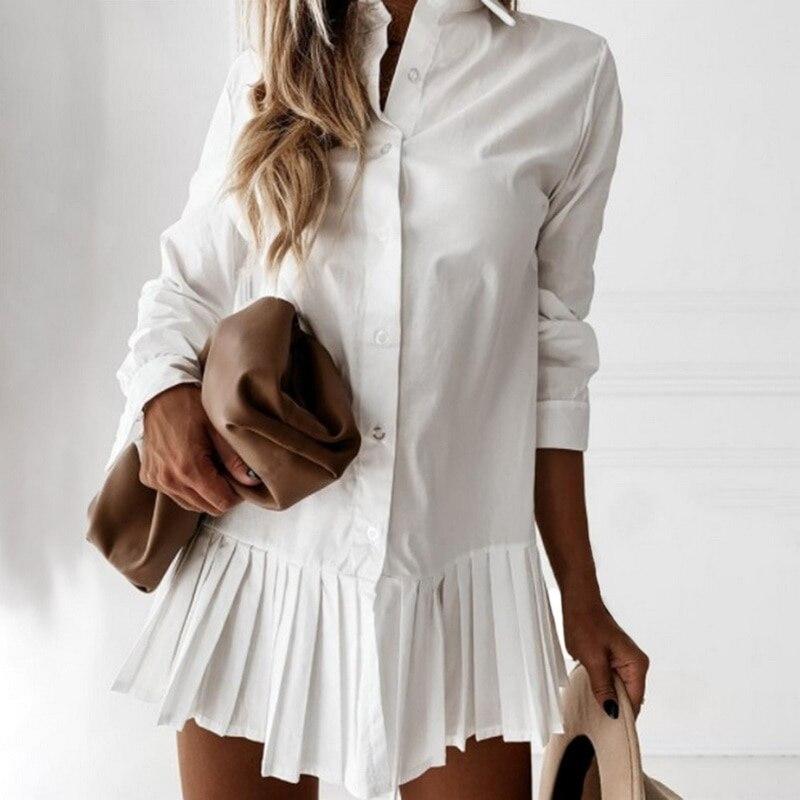 Autumn Long Sleeve White Pleated Shirt Dress 2021 Women Casual Turn Down Collar Mini Dress Button Lady A Line Office Vestidos