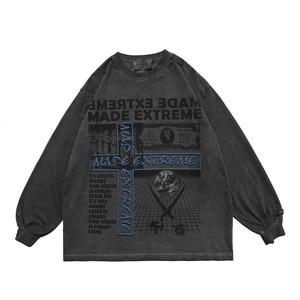 Men's Hip Hop High Street Tshirt Distressed Letter Printing Streetwear Loose Fashion Harajuku Cotton Long-Sleeved T-shirt Top