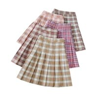preppy style woman pleated skirt high waisted women plaid skirts casual a line female mini skirts fashion chic lady short skirt