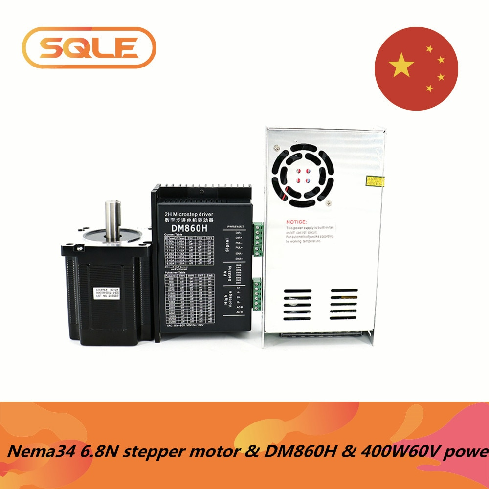 محرك متدرج ذو حلقة مفتوحة Nema34 ، 86HS100-5004A14 6.8Nm 5A مع عمود 14 مللي متر ومحرك Microstep DM860H ومصدر طاقة 400W60V6.7A