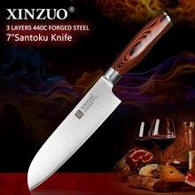 XINZUO couteau Santoku 7 pouces allemand 3 couches   440C en acier inoxydable plaqué de Style japonais avec manche en bois de Pakka