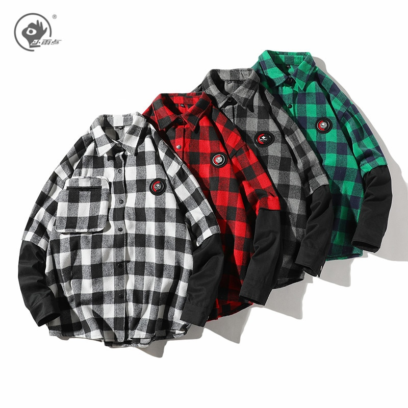 Camisas de cuadros de primavera para hombre de Little Rain 2020, camisas falsas de moda para hombre, blusa de manga larga, camisetas holgadas para hombre