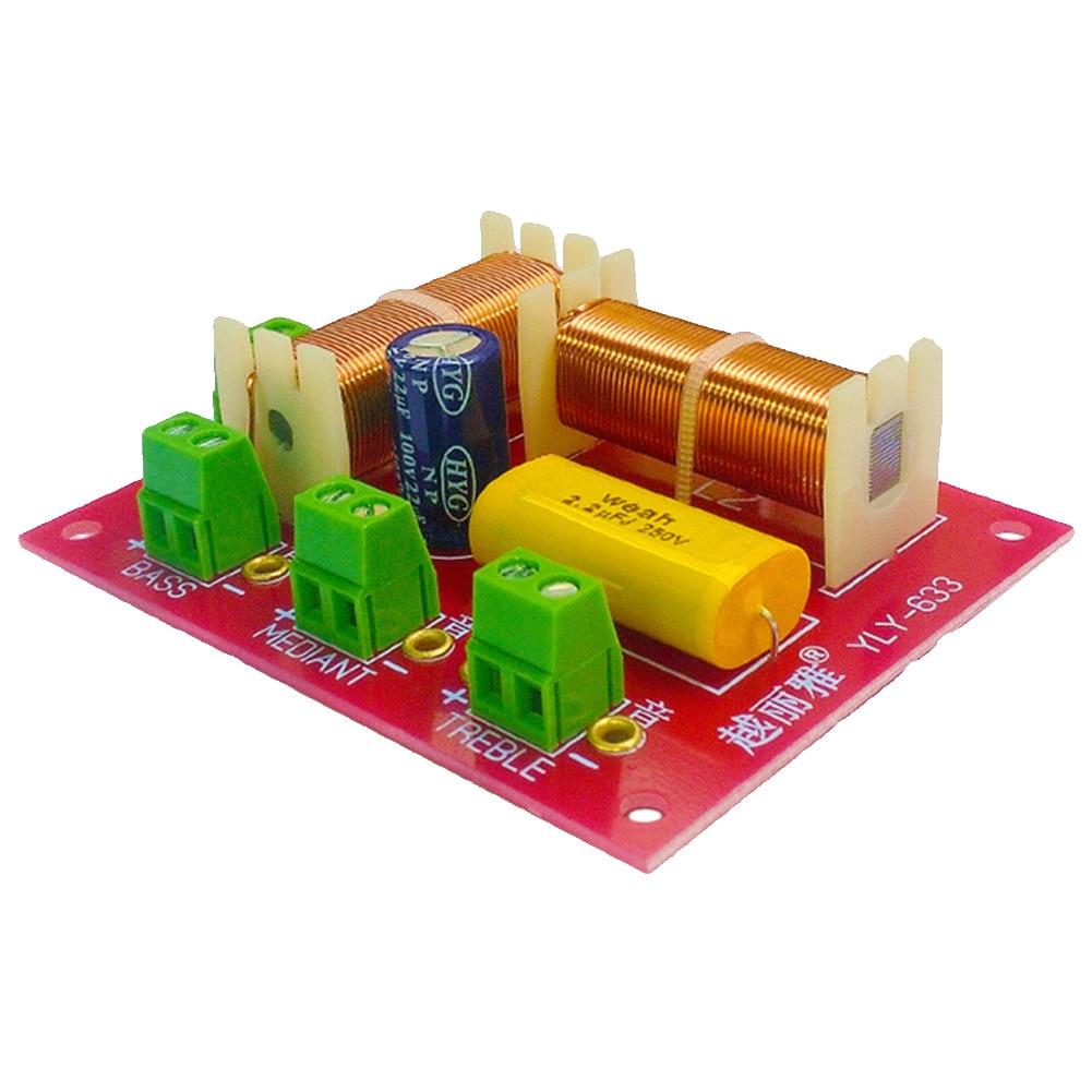 Práctico de 3 vías para reemplazo de filtro de altavoz divisor de frecuencia de Audio triple independiente cruce portátil de bajos medios