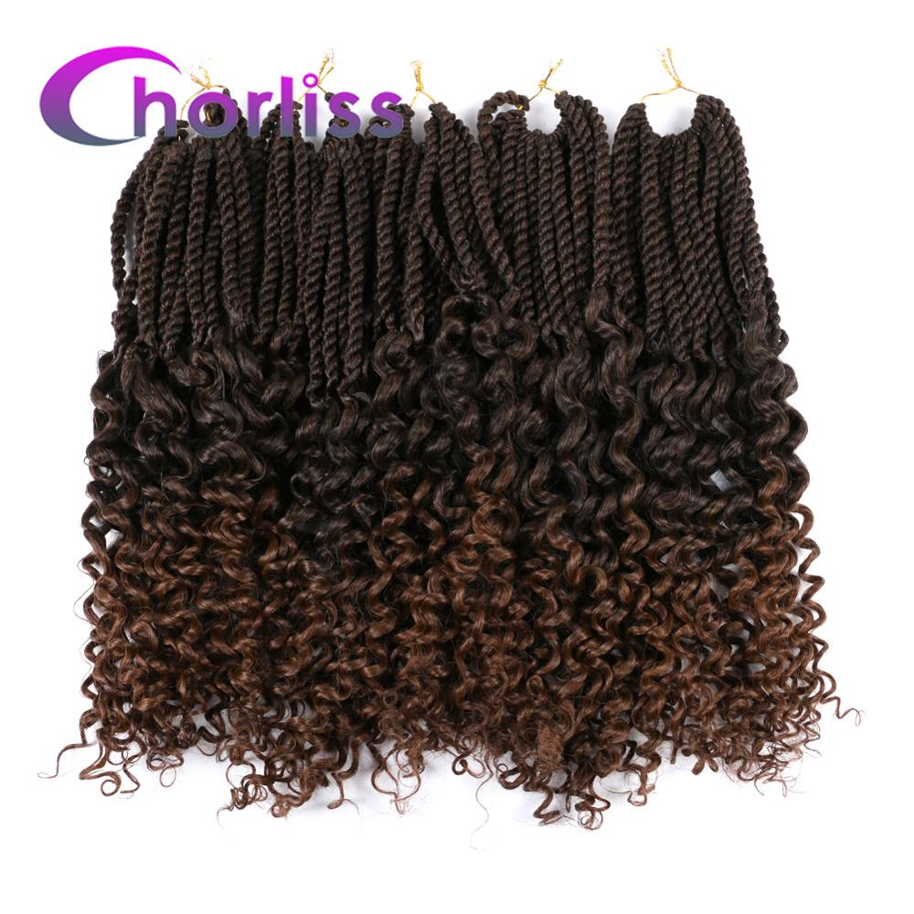Ombre Goddess Senegalese Twist Hair Crochet Braids Chorliss 18Inch Synthetic Pre Looped Brown Crochet Braiding Hair Extensions