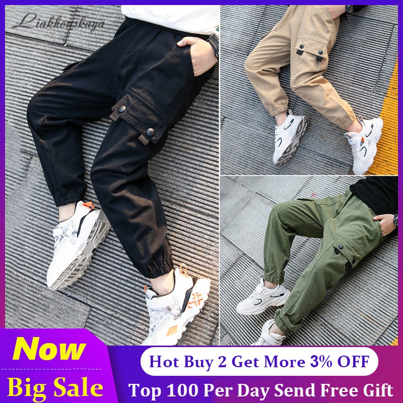Hot Boys Pants 2020 High Quality Cotton Korean Casual Pants Children Spring Autumn Trousers Splicing Large Pockets 4-13 Years