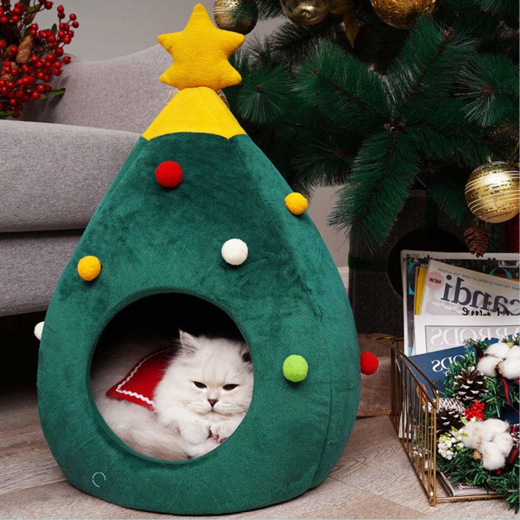 Casa de mascotas gato cama de perro perrera cachorro cueva cama caliente para dormir forma de árbol de Navidad invierno cama caliente para gatos jaula de perro cama para #30