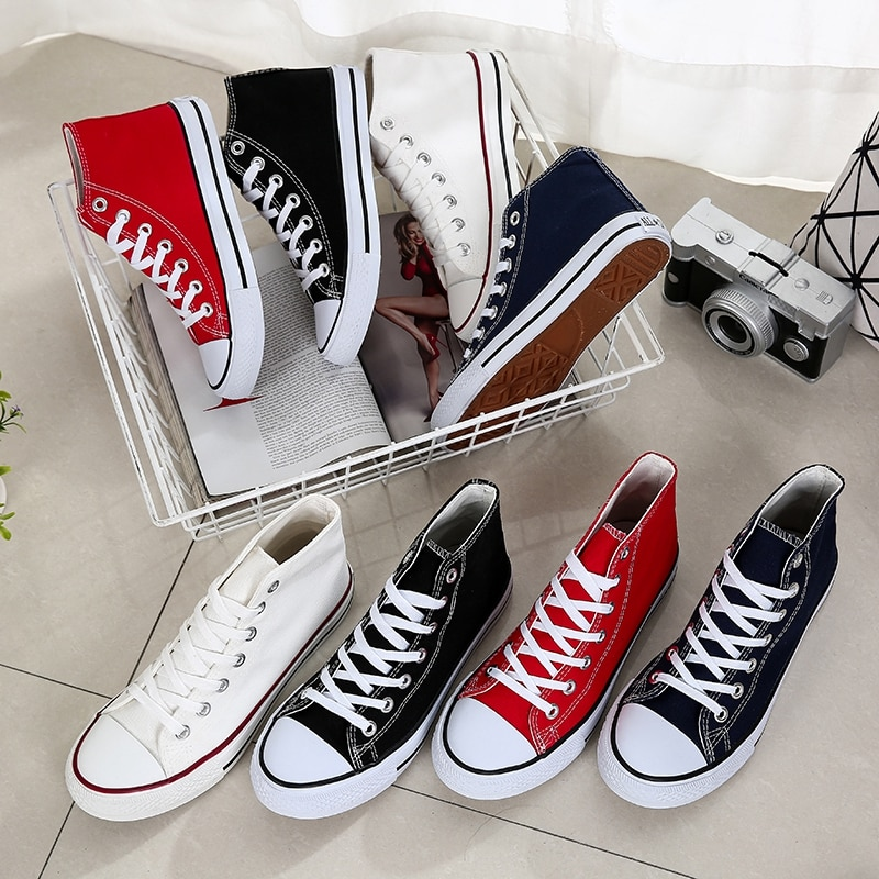 Classic Men Canvas Shoes Fashion Solid Cheap Men Vulcanized Shoes Low High Upper Lace-up Casual Shoes Men Sneakers Male Footwear