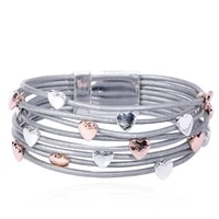 madrry fashion magnet clasp bracelet multi layer leather heart shape bangle jewelry for women men child hand party accessories