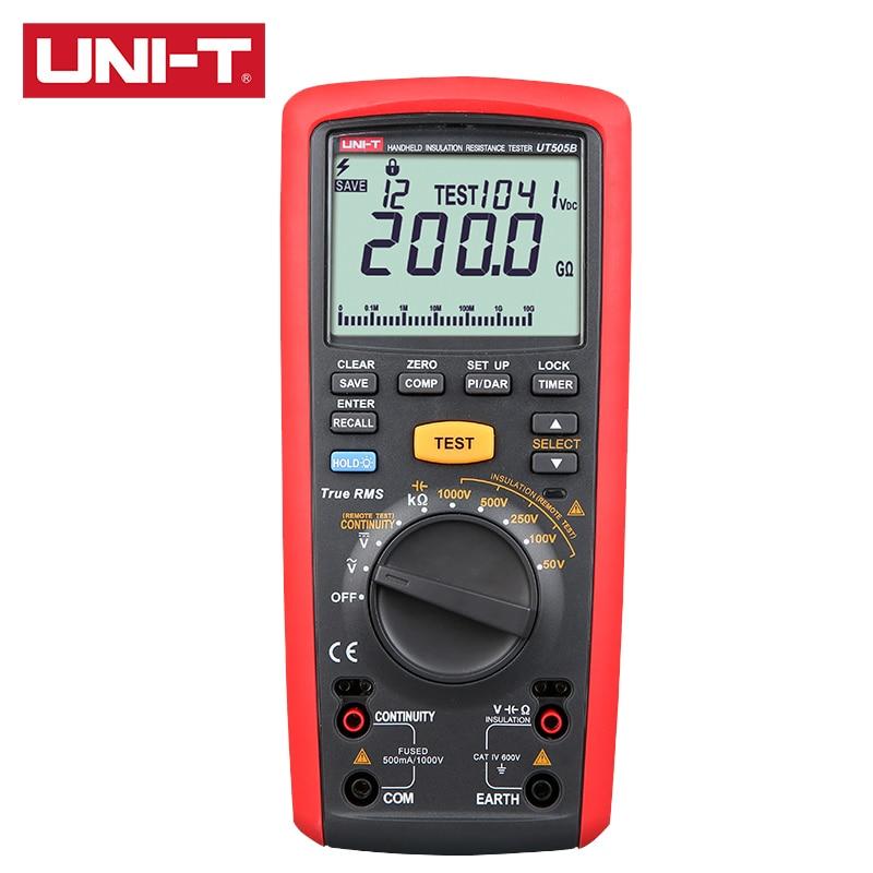 UNI-T UT505B يده جهاز اختبار مقاومة العزل السيارات المدى صحيح RMS 6000 عرض العد خطوة الجهد DAR