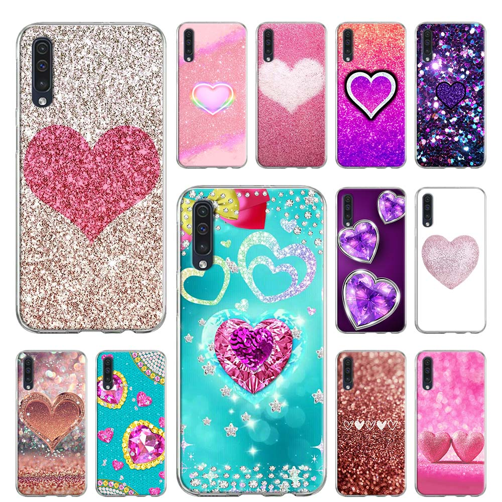 Sequins heart shape Color Soft case for Samsung Galaxy A51 A71 A01 J4 J6 Plus J8 2018 M10 M20 M30 M30S M40 TPU Cover