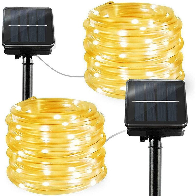 8Modes Solar String Light 50D 100D 200D 300D Waterproof PVC Rope Pipe Christmas Party Holiday Garden Patio Fairy Lamp