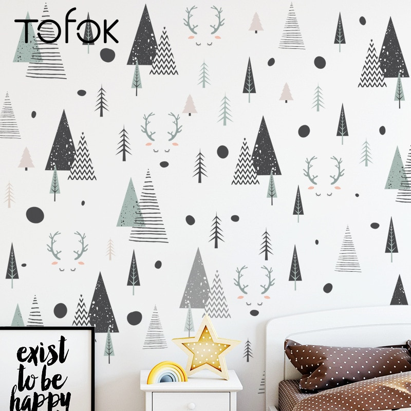 Tofok Deer Forest Pine DIY Home Wall Sticker Nordic Style Kids Room Bedroom Decoration Decal Nursery Door Window Sticker