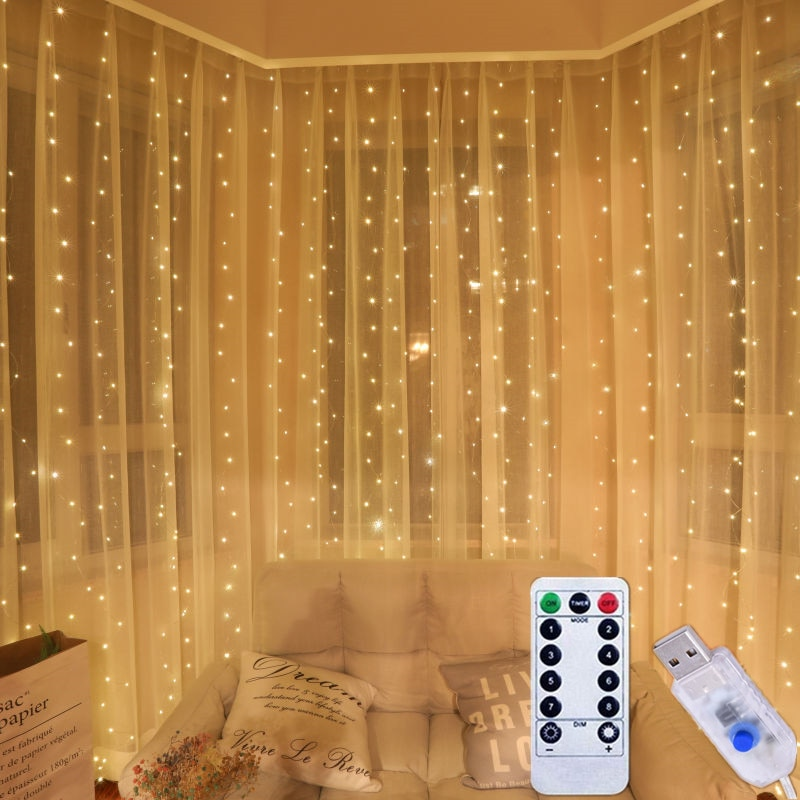 Рождественсветильник гирлянда, гирлянда-занавеска, светильник Личная Гирлянда-водопад, сказосветильник ная гирлянда для вечеринки, праздн...