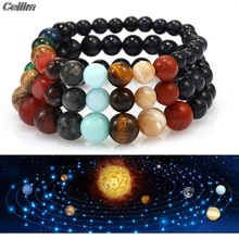 2021 Lover Eight Planets Natural Stone Bracelet Universe Yoga Chakra Galaxy Solar System Beads Bracelets for Men Women Jewelry