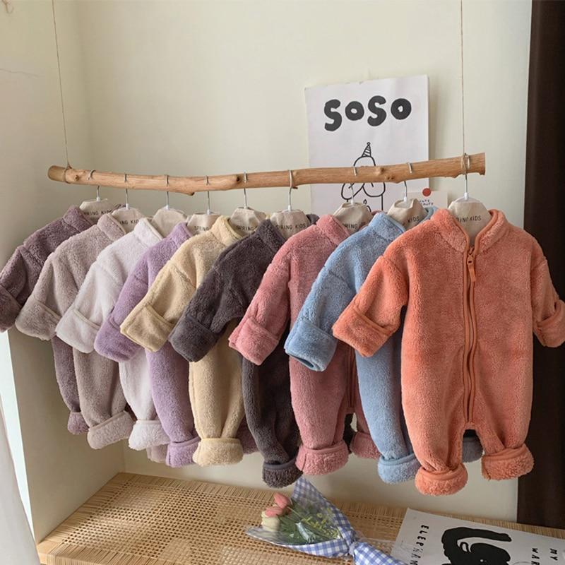 0-24M Newborn Baby Winter Autumn Plush Romper Baby Boy Girl Clothes Soft Fleece Bebe Romper Jumpsuit  Baby Warm One-piece Suit