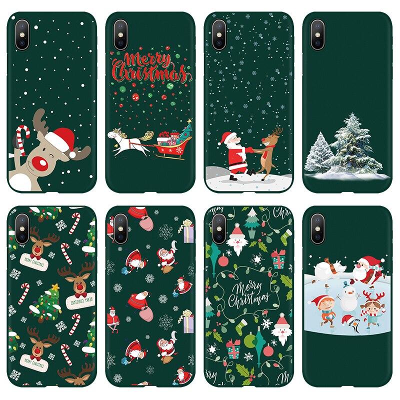 Inverno novo caso para iphone 7 8 6 s plus 5 se caso de natal para iphone xr 11 pro max x tpu fosco coque para iphone xs max fundas
