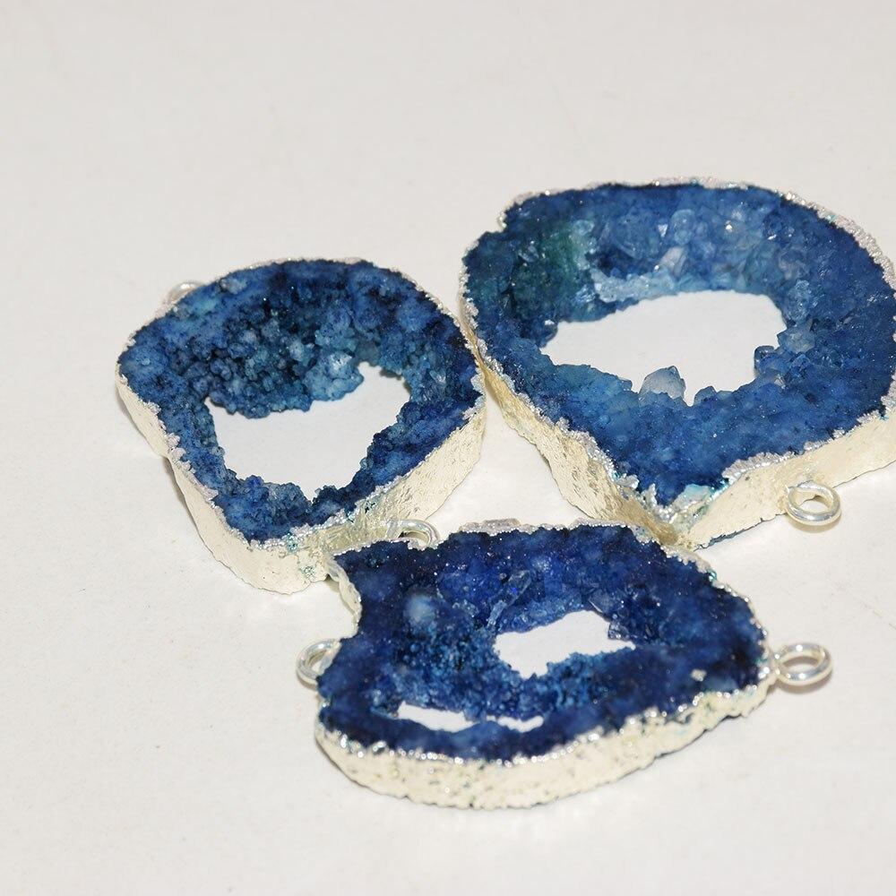 موصل حجر أزرق كبير للنساء ، علامة الجيود ، حجر غير منتظم ، لصنع المجوهرات ، 2021