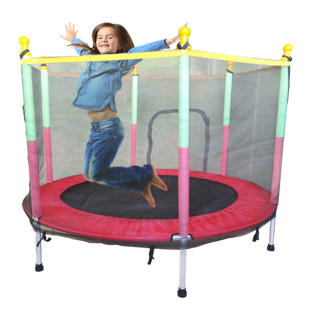 55 Inch Mesh Trampoline Children Safty Protective Fence Jumping Bed Toy Fitness Entertainment Durable Trampoline for Kids Age 3+