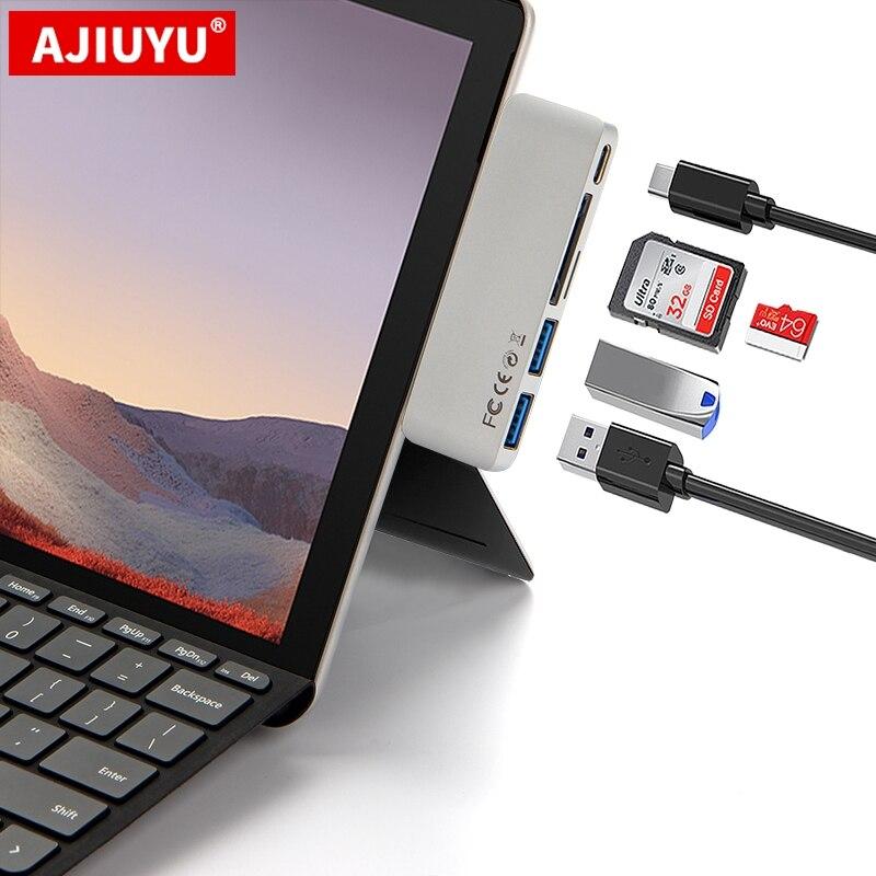 AJIUYU USB C محور إلى متعددة USB3.0 HDMI محول قفص الاتهام لمايكروسوفت سطح الذهاب Go2 برو x Pro7 كتاب 3/2 Laptop3 USB-C الفاصل ميناء