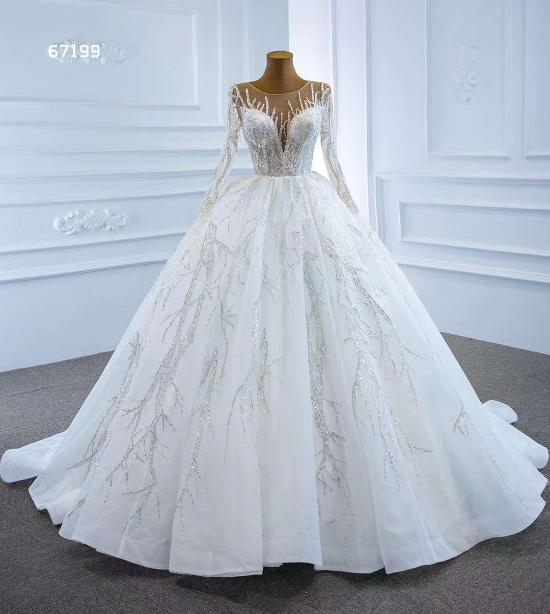 AOLIWEIYA الكرة ثوب مضيئة كم الوهم العنق صدفي طول الكلمة فستان زفاف للنساء