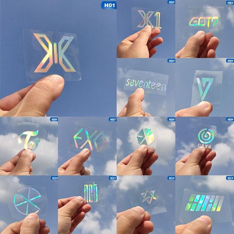 K-POP ASTRO DAY6 CIX EXO dos veces GOT7 X1 SEVENTEEN láser PVC pegatina creativa de Color arcoíris para la decoración del teléfono portátil