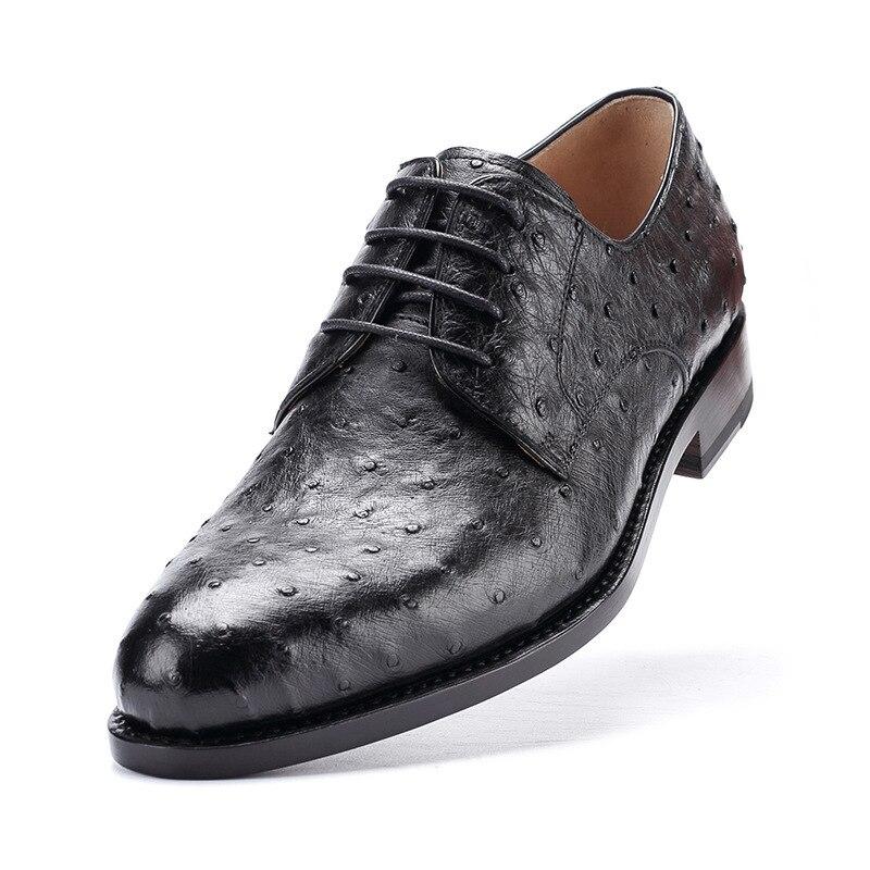 Estilo Formal auténtico piel de avestruz Real vestido de negocios de los hombres zapato de cuero genuino hecho a mano puntiagudos hombres con cordones trajes zapatos
