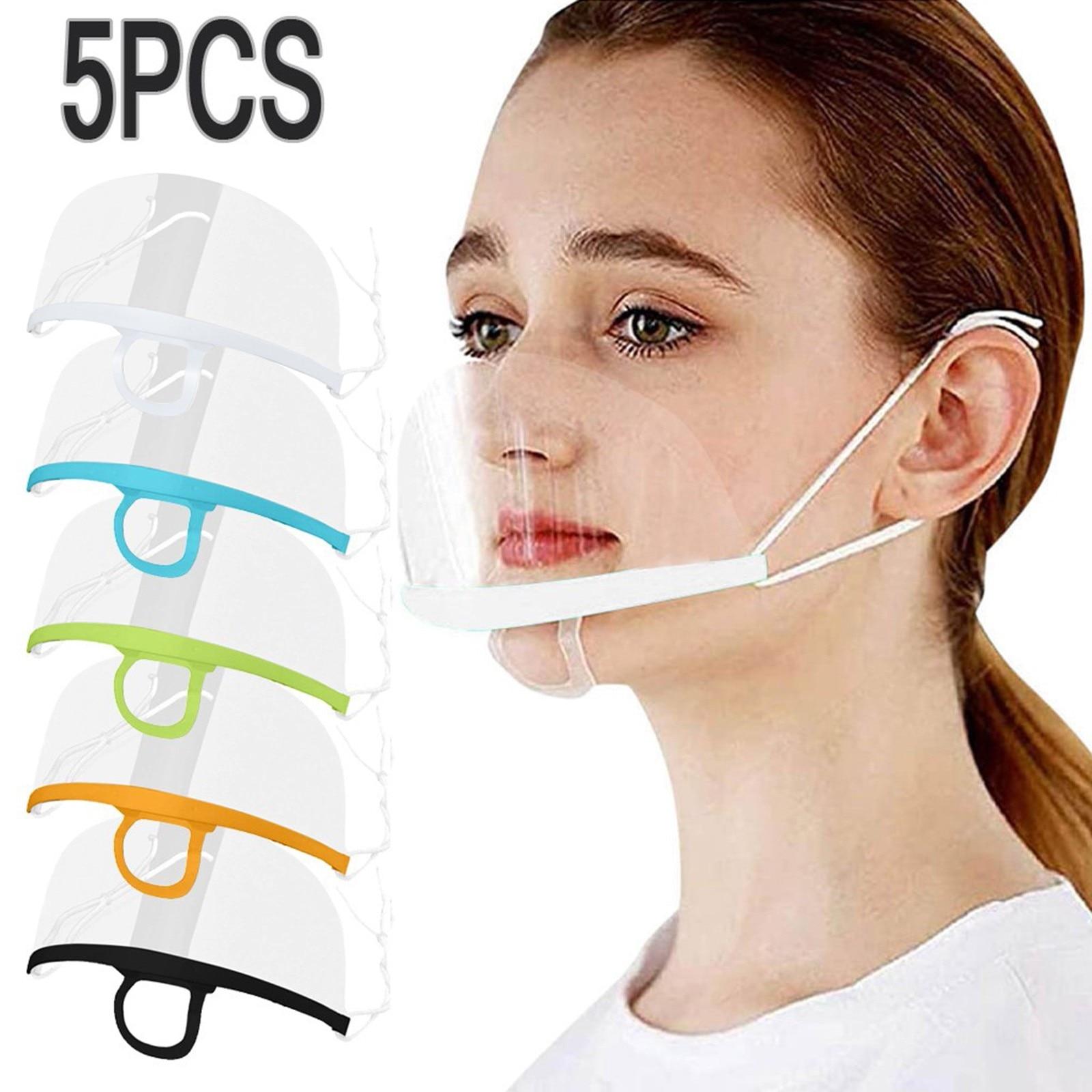5 pçs máscara protetora de plástico transparente chef serviço de cozinha máscaras lavável reutilizável mascarillas lábio língua rosto máscara boca