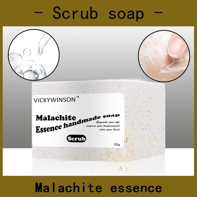 Malachite essence scrub soap handmade Soap 100g Amino acid soaps Natural Whitening Essence Remover Freckle Spots Anti-aging