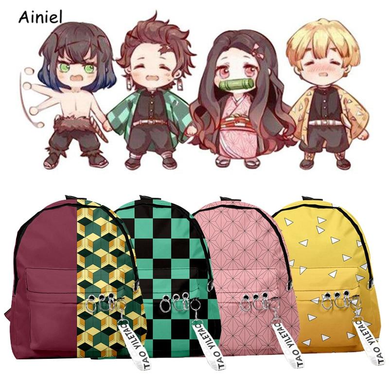 Demônio slayer kimetsu não yaiba mochila lona saco de escola kamado tanjirou presente bolsa feminina nezuko bolsa de ombro masculino