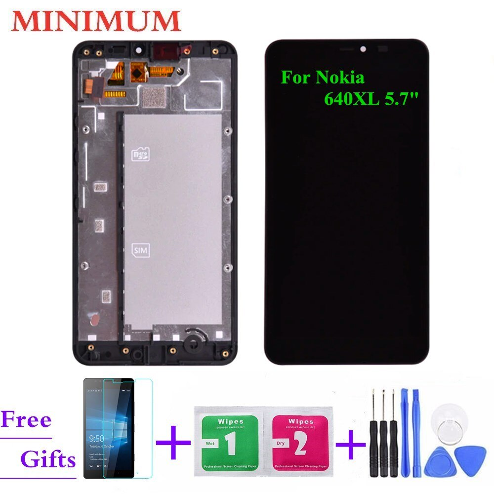 Para Nokia Lumia 640XL 5,7 pulgadas pantalla LCD MONTAJE DE digitalizador con pantalla táctil con marco + herramientas para Microsoft Lumia 640 XL N640XL LCDs