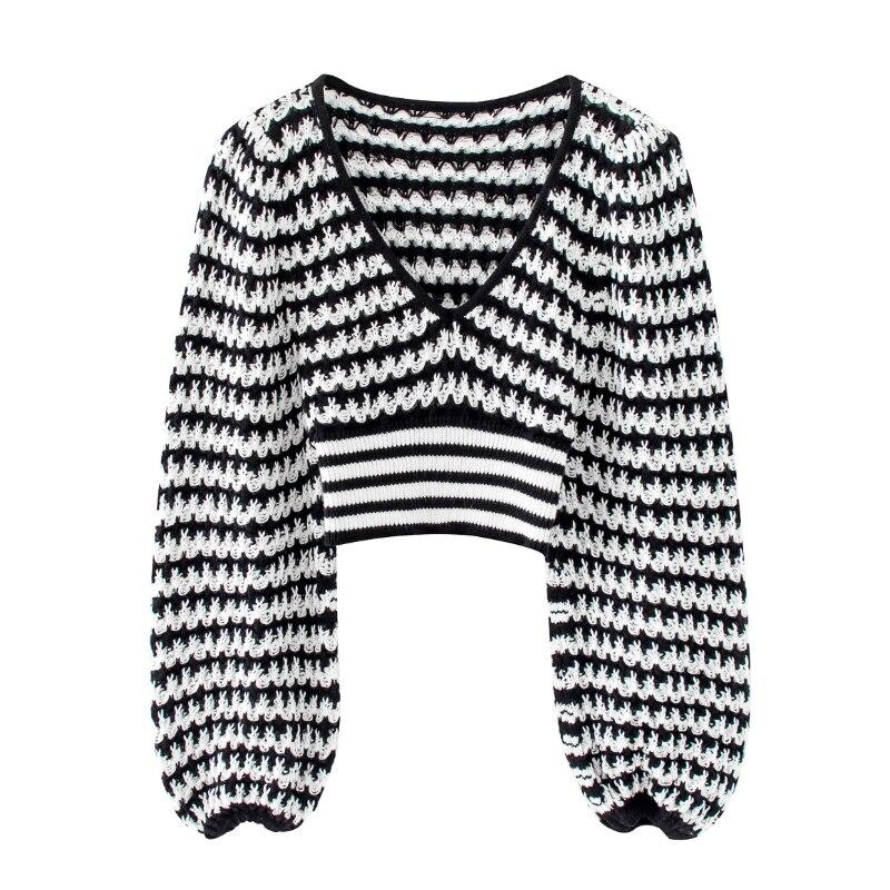 ¡Novedad de 2020! Suéter corto de patchwork blanco y negro con cuello de pico para mujer, sudaderas de punto casuales ajustadas básicas de mujer, tops elegantes de calle S258