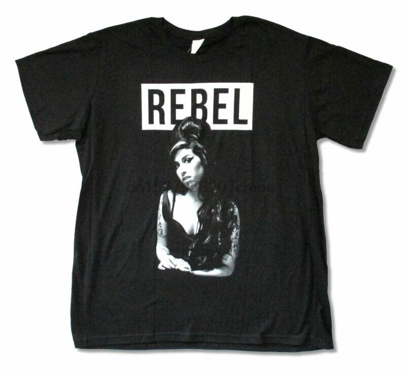 Amy winehouse rebelde preto t camisa nova merch