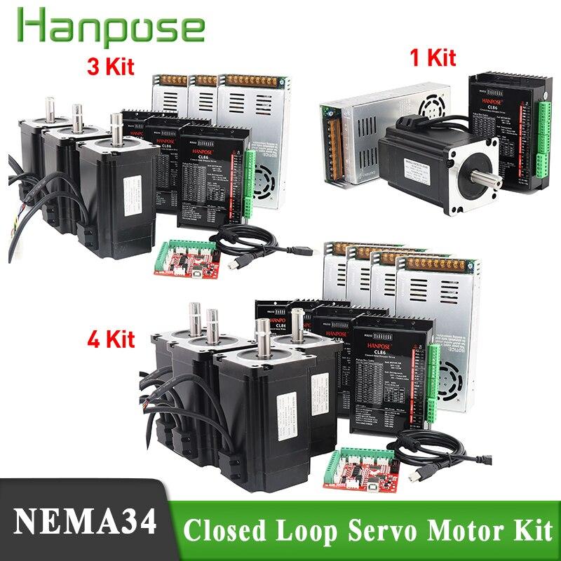 3 محور نك عدة nema34 محرك متدرج مغلق حلقة 12N 8N 4N 86EH118A6001 + CL86 سائق 48 فولت 360 واط امدادات الطاقة الهجين خطوة محرك معزز