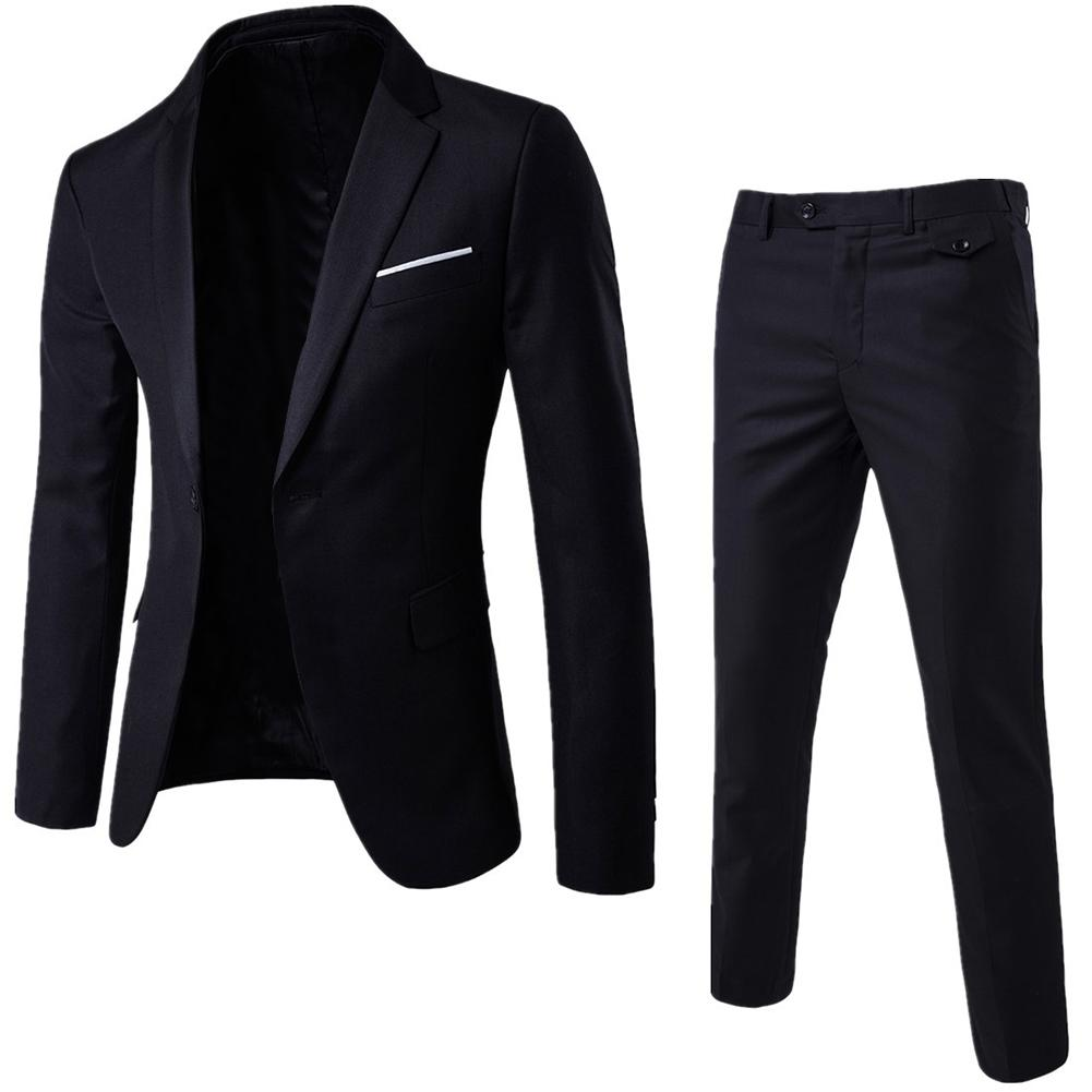 2Pcs wedding Men's solid color slim married small suit overalls suit Two-piece suit groomsman